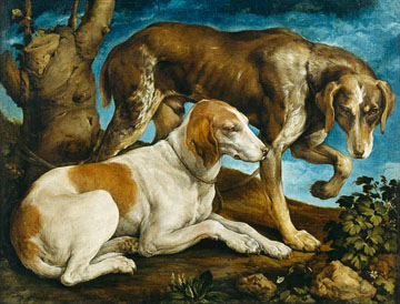 Jacopo_Bassano_two_hunting_dogs