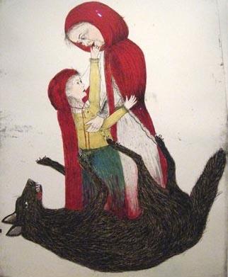 Kiki+smith+red+riding+hood+born