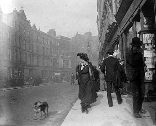 Vintage_irish_photo_woman_walking_dog