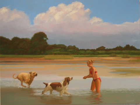 Kathryn_Freeman_Girl_Two_Dogs_Low_Tide