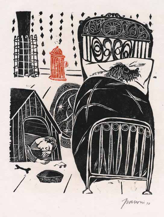 Antonio-frasconi-in-the-doghouse-woodcut-1952