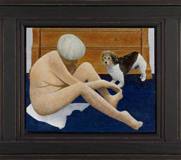 Woman-cutting-toenails-dog-watches-alex-colville-2009