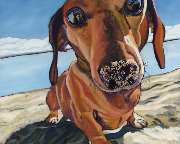 Dachshund-painting-kathryn-wronski