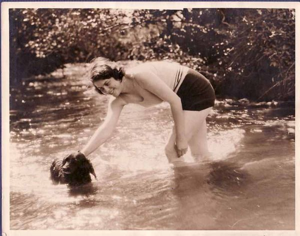 Vintage-photograph-dog-woman-swimming