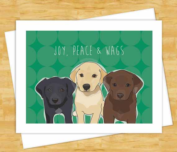 Labrador retriever holiday christmas cards