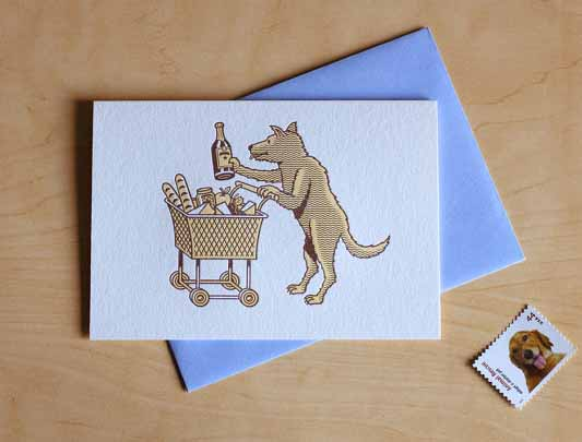 Shopping-dog-holiday-letterpress-cards