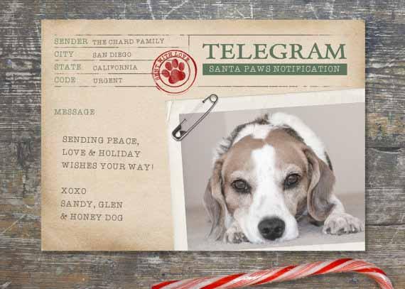 printable dog art holiday card digital download - Dog Holiday Cards