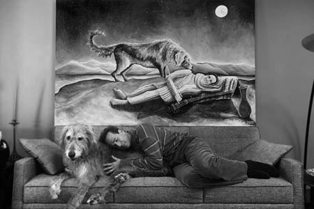 Joel-pelletier-sleeping-with-irish-wolfhound-black-white-photo