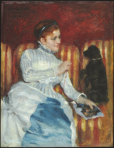 Woman_on_a_Striped_Sofa_with_a_Dog_by_Mary_Cassatt