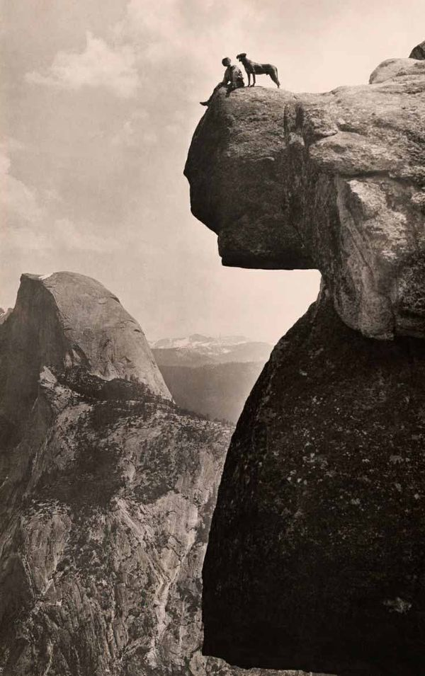 Vintage-black-and-white-photo-man-and-dog-yosemite-1924