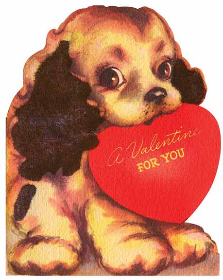 vintage valentines day card 2 - Dog Valentines Day Cards