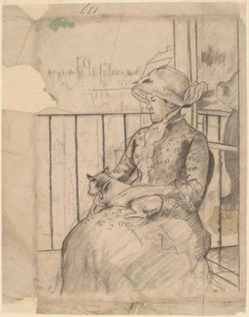 Susan-on-a-Balcony-Holding-a-Dog-Sketch-Mary-Cassatt-c1883