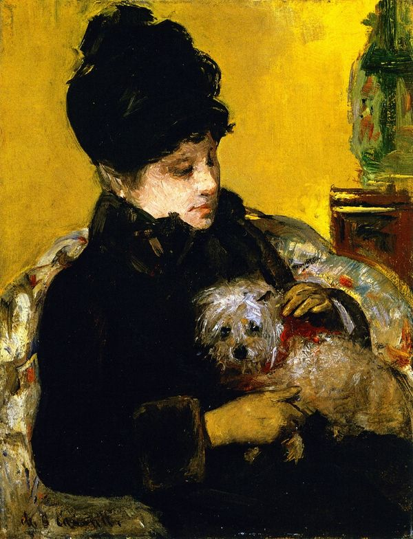 A-Visitor-in-a-Hat-and-Coat-Holding-a-Maltese-Dog-by-Mary-Cassatt-c1879