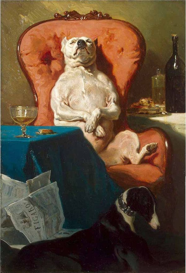 Alfred De Dreux 1857 - dog in an armchair