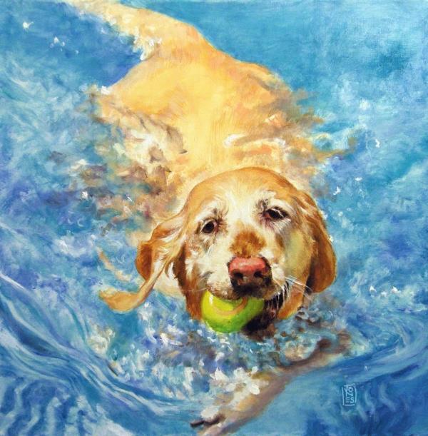 Summer-dog-painting-golden-retriever-swimming-by-debra-jones