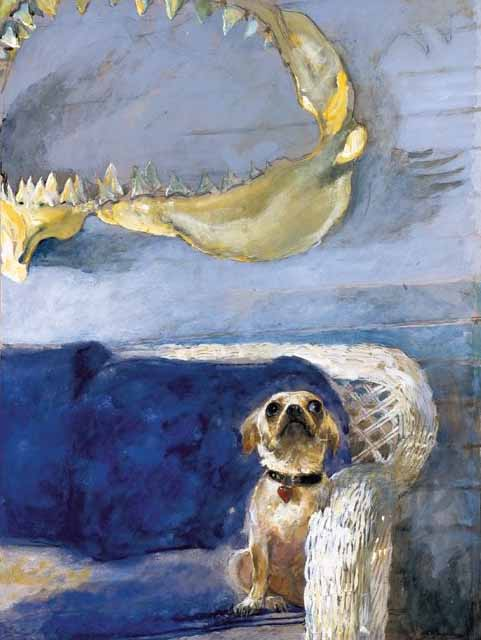 Dog-and-great-white-shark-jaw-by-jamie-wyeth-2010