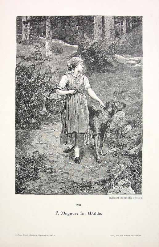 Girl-in-forest-with-basket-of-mushrooms-and-dog-vintage-print