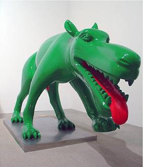Dog art today zhou chunya s green dogs invade indonesia